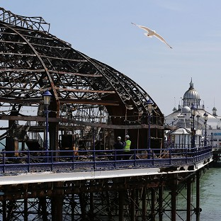 The burnt-out remains of Eastbourne Pier