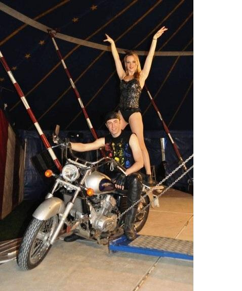 The Easy Riders, who perform a high wire motorcycle act.