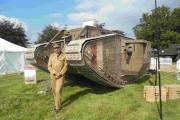 Matthew Carvalho from Bovington Tank Museum and the replica Mark 1 tank which will be at today's Romsey Show