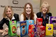 Natwest staff Bev Asher, Shona Haigh and Kerry Dalley with some of the donated eggs