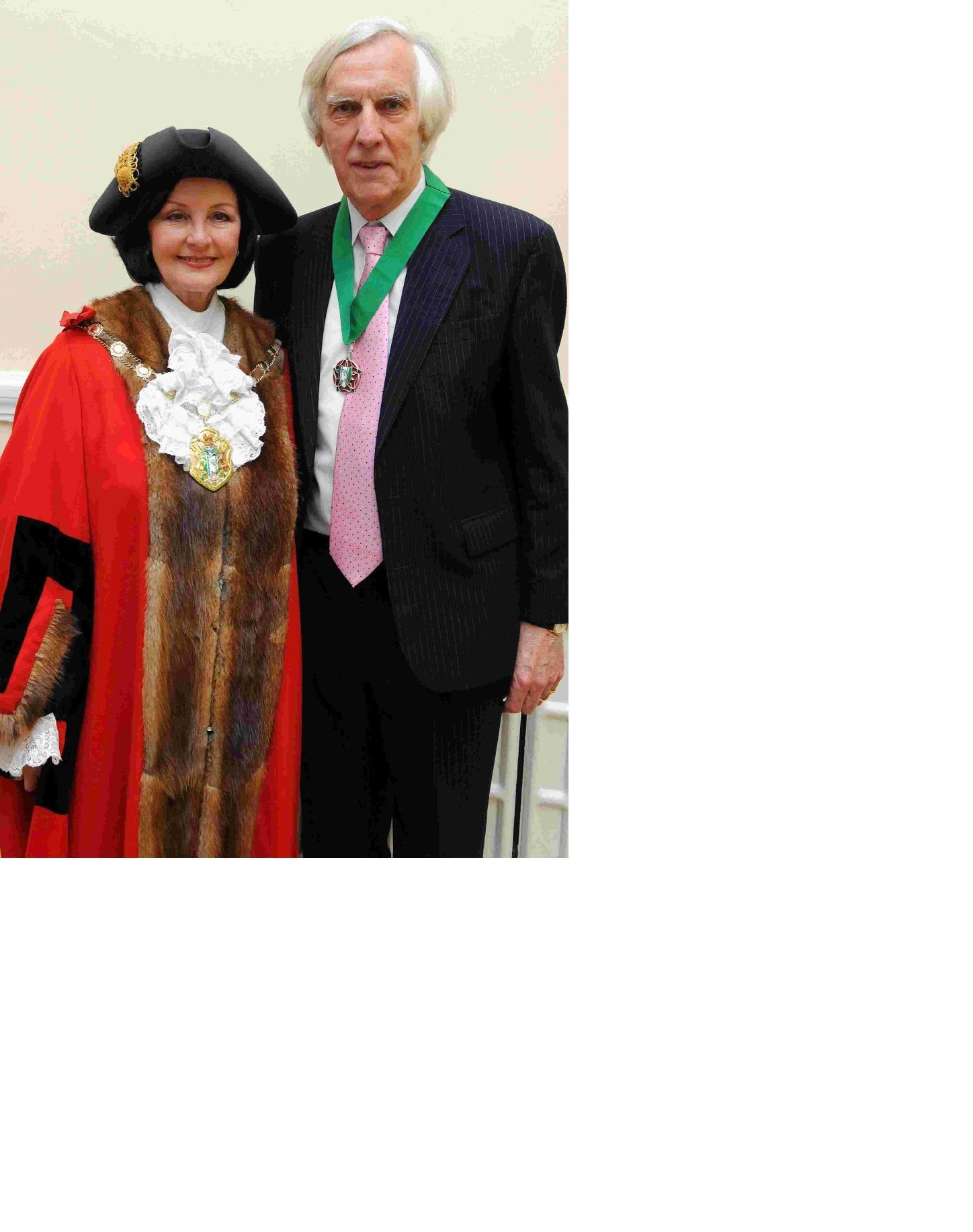 Janet and Neville Whiteley at Mrs Whitely's installation as Test Valley mayor in 2013