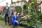 Sparsholt College students Philip Scott and Dave Sexton with lecturer Chris Bird (centre) who are part of the college's gold winning team at Chelsea Flower Show