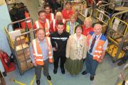 Front row, left to right: Royal Mail Collection and Delivery Office Manager, Tony Martin; Hampshire Constabulary PC Matt Flynn; Neighbourhood Watch coordinator Sandie Vining; Royal Mail Security Manager Steve Dunn Middle row, left to right: Ewan Lewis, Yv