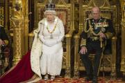 The Queen with Prince Philip in the House of Lords today