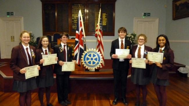 Winners in the Youth Speaks competition, from left to right: Elizabeth Hutchinson, Anne Robinson, Max James, James Roland, Catherine Maxwell and Rebecca De Souza.