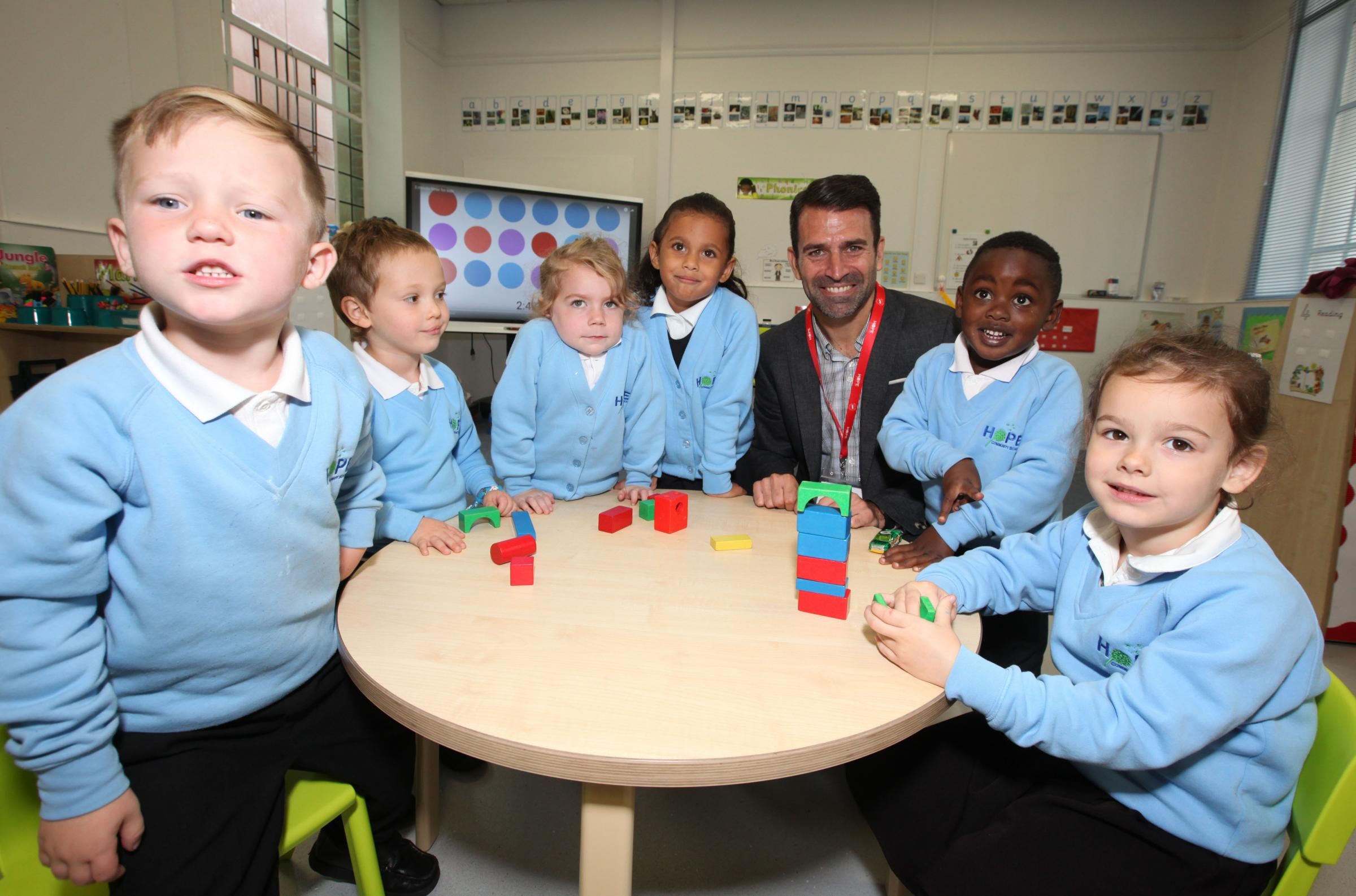 Photo Stuart Martin - Official opening of Hope Community School at Central Hall Southampton - Francis Benali pictured with some of the school's new pupils.