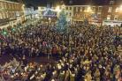Carols in the Market Place earlier in December for the annual event that sees hundreds turn out to sing carols in the town square. A donation eventually totalling £12,000 has been raised for a good cause.