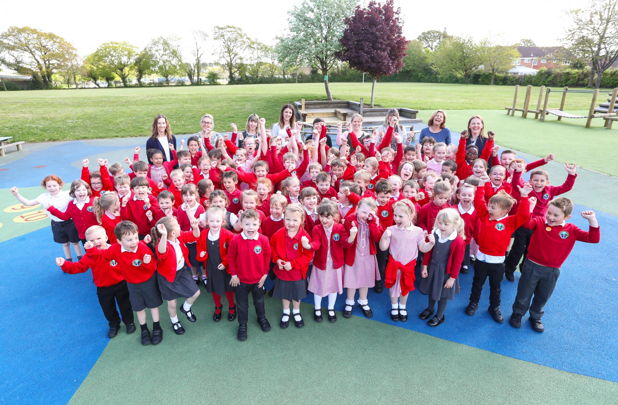Photo Stuart Martin - Manor Infant School in Holbury school report following the school good Ofsted report - The schools pupils and teaching staff celebrate the school's good Ofsted report.