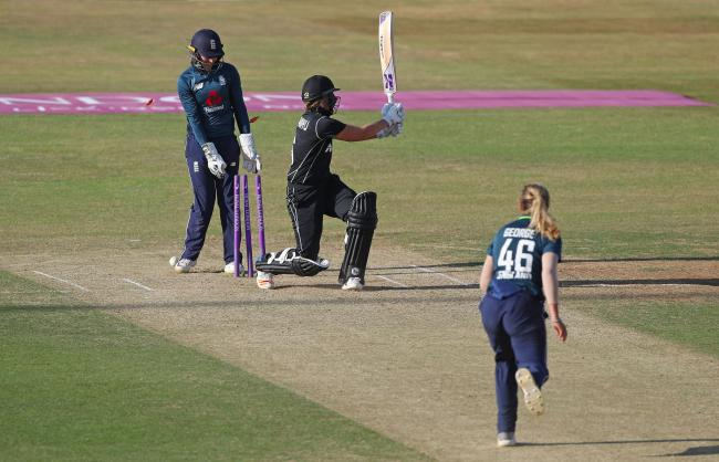 New Zealand's Lea Tahuhu is bowled by England's Katie George during the Second One Day International Women's match at the 3aaa County Ground, Derby. PRESS ASSOCIATION Photo. Picture date: Tuesday July 10, 2018. See PA story CRI
