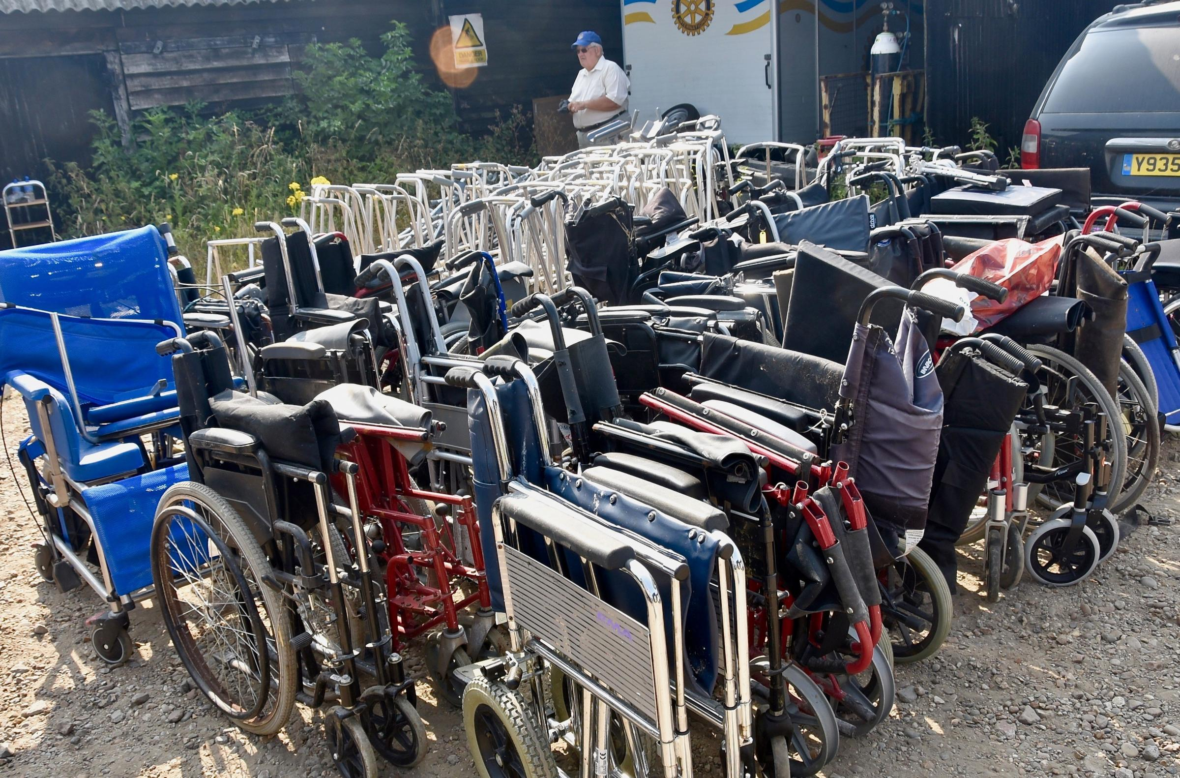 DONATION: The wheelchairs and mobility aids which have been collected by Clacton Rotary Club to be distributed to third world countries