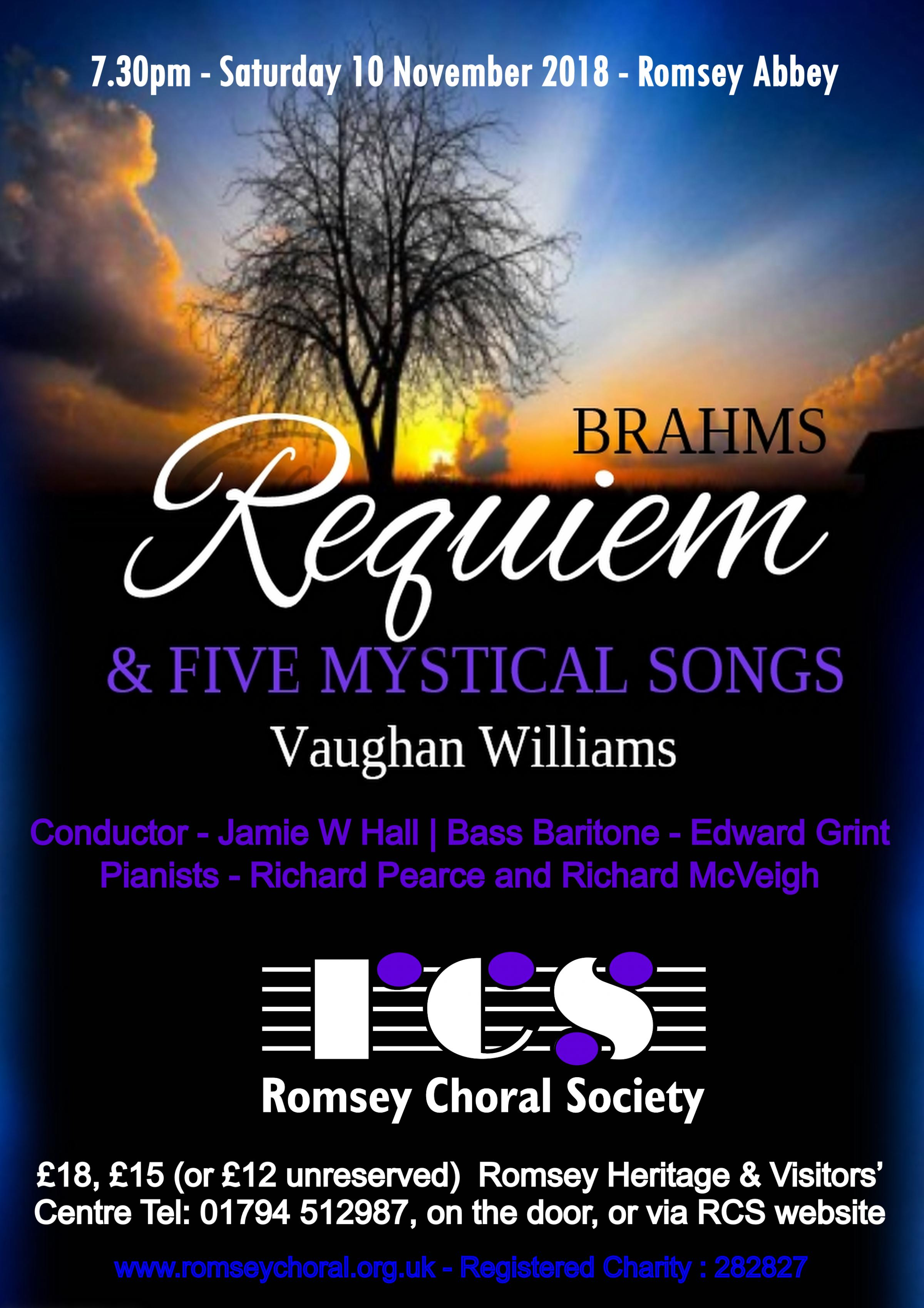 Romsey Choral Society presents - Brahms Requiem + Five Mystical Songs
