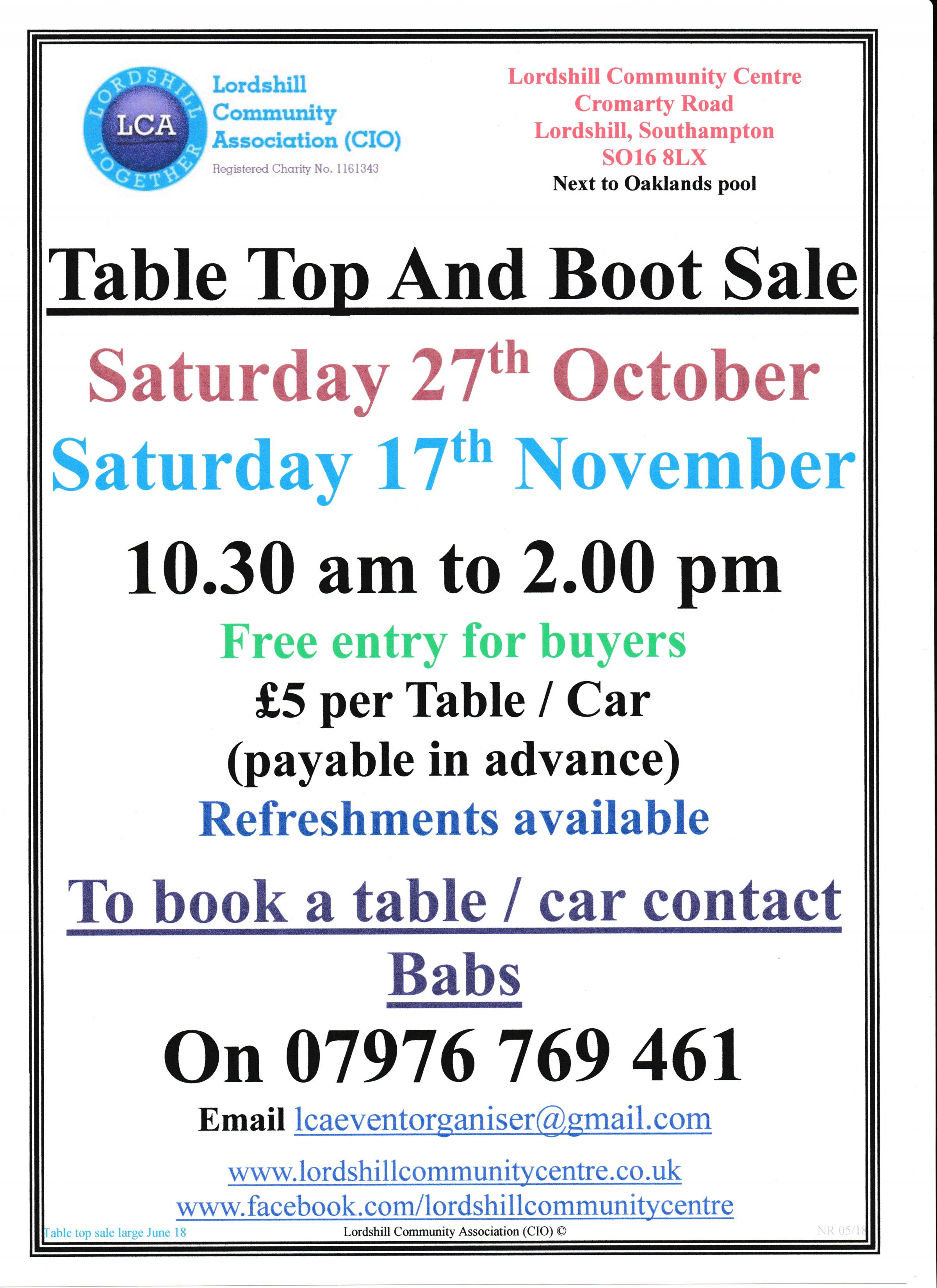 Table top and boot sale