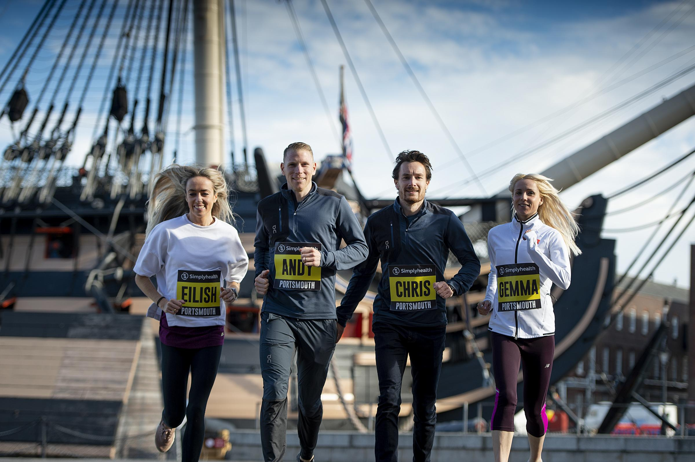Eilish McColgan, Andy Vernon, Chris Thompson and Gemma Steel at the press launch of the 2018 Great South Run at the Historic Dockyard today (Photo by Pete Langdown)