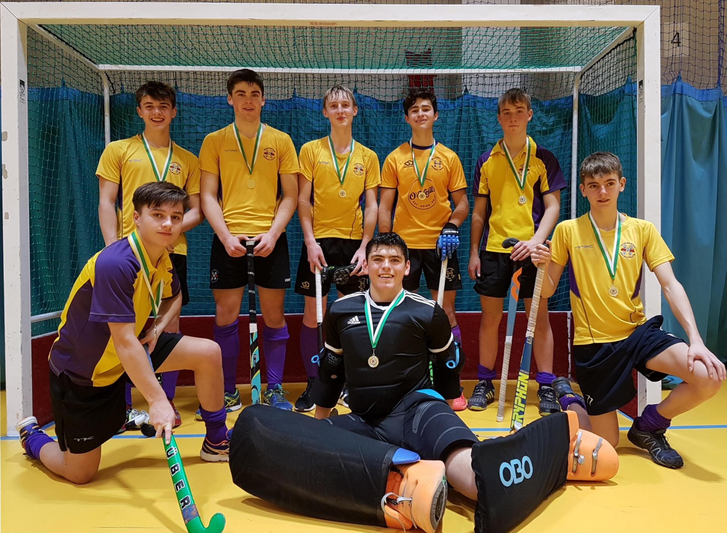 Winchester Hockey Club's victorious Under-16 boys' indoor team