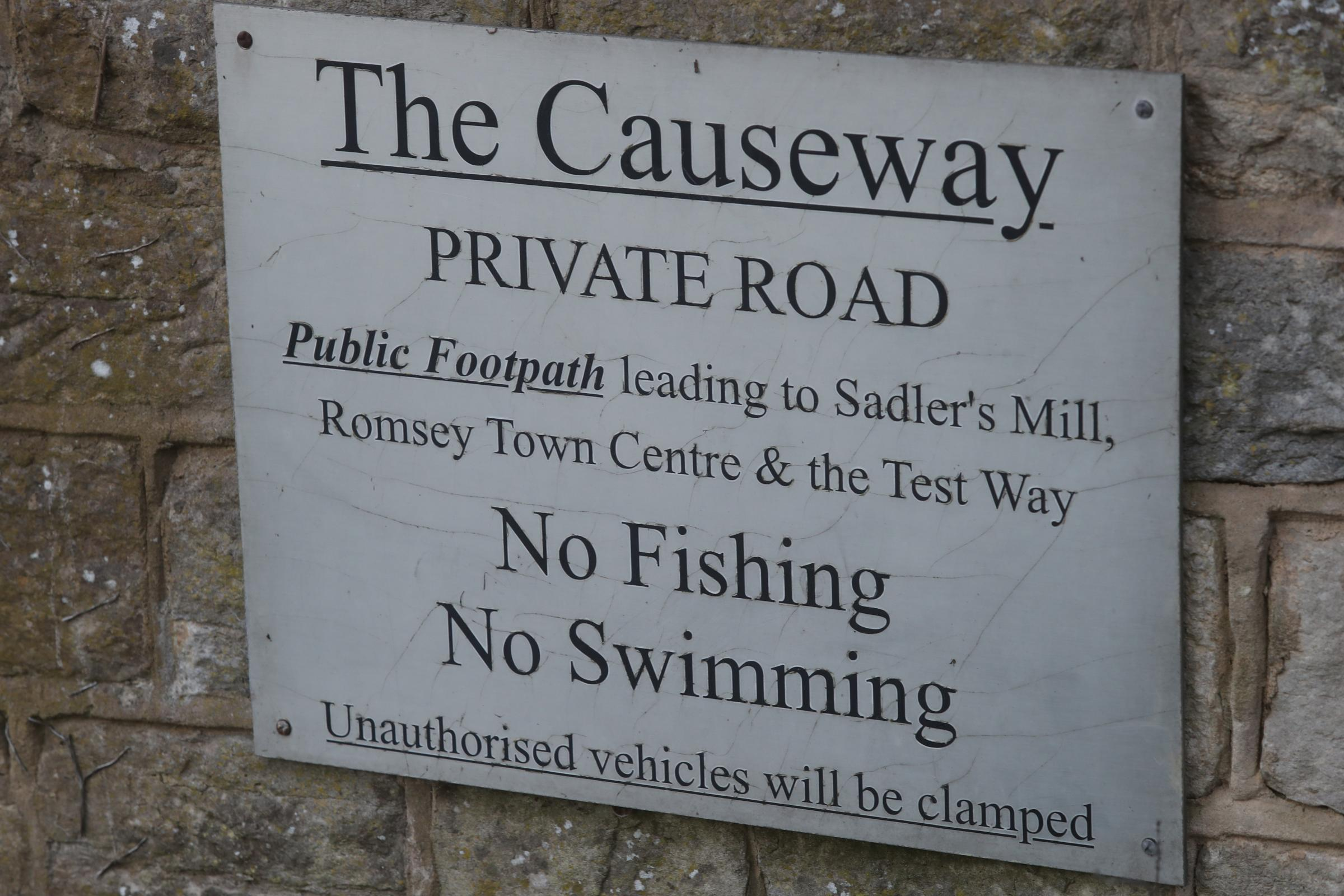 The Causeway in Romsey where there are plans to build two bridges and spillways as part of the flood alleviation scheme.