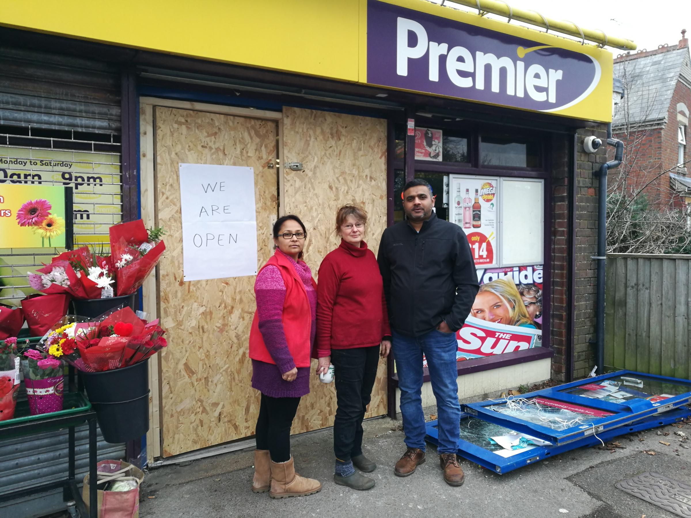 Neha Patel, Clare Smith-May and Siddarth Patel at the Premier store in Viney Avenue in Romsey
