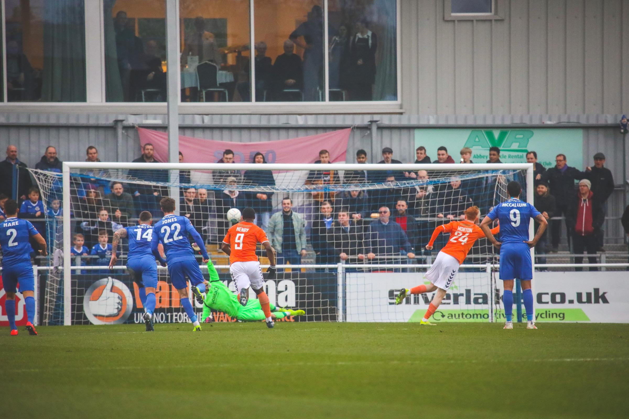 Luke Southwood's penalty save (photo: Tom Mulholland)