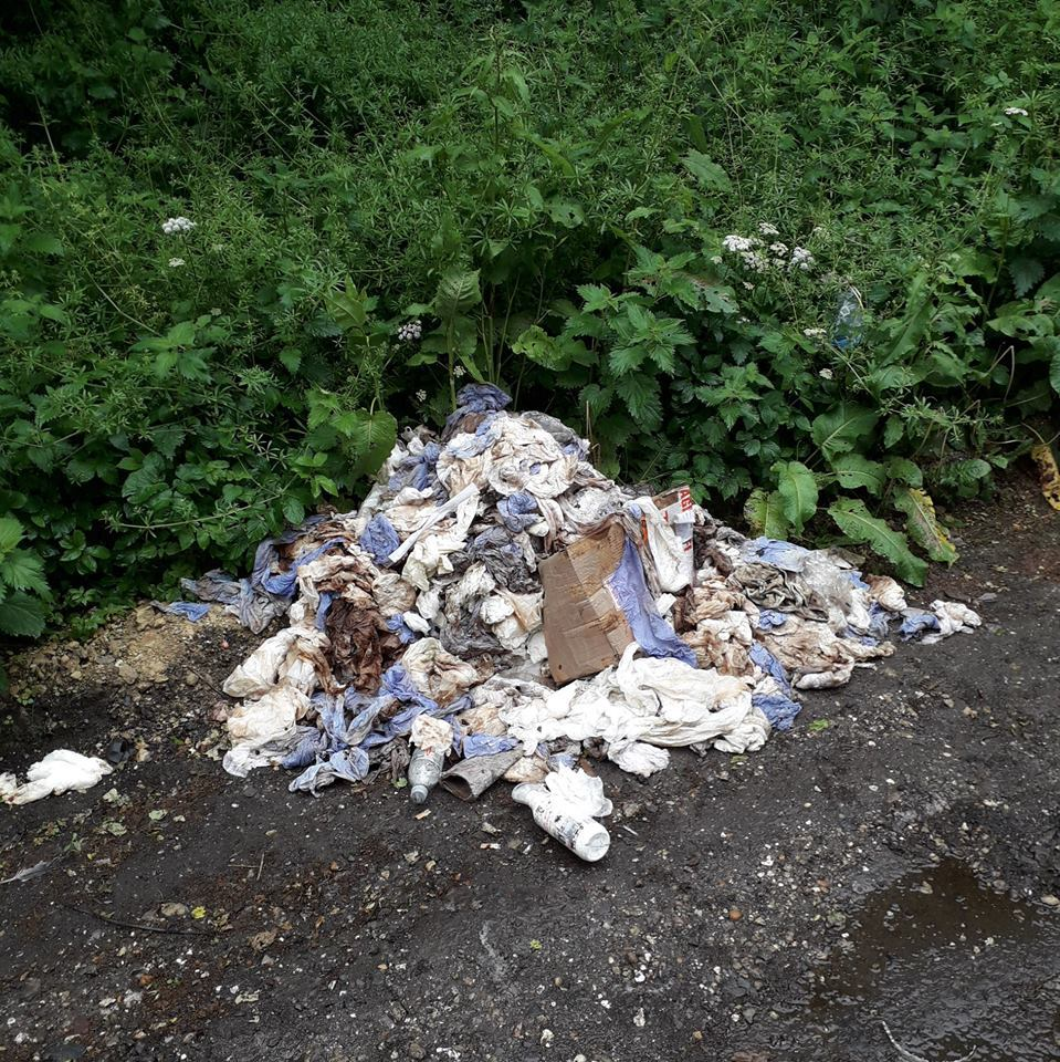 The rubbish dumped in a layby near Bourne Park on the A343.