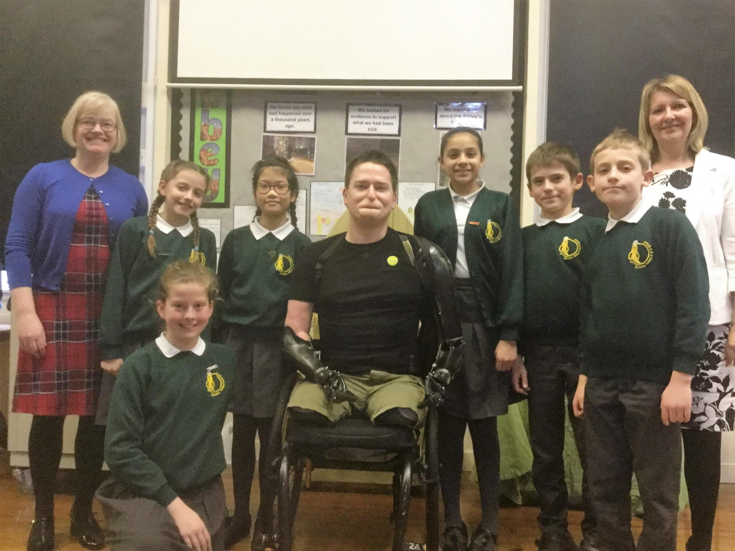 Pupils of Romsey Abbbey C of E Primary School with Alex Lewis.