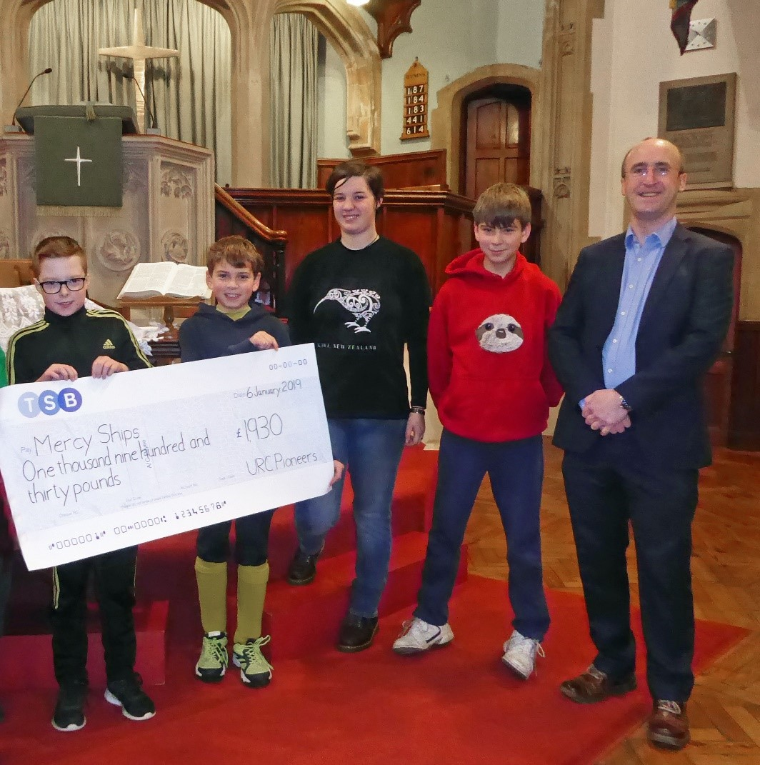 The Pioneers and Explorers, the youth of Abbey United Reformed Church (URC), raised £1,930 for Mercy Ships.