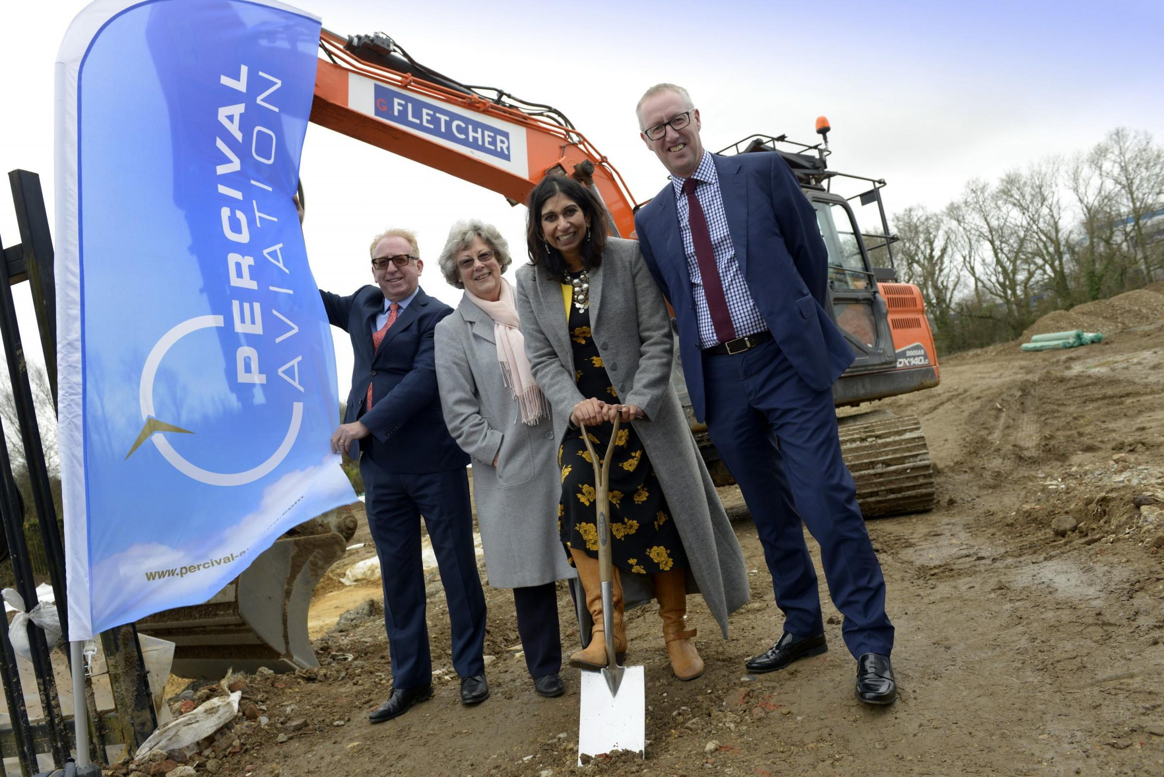 Mike Forster, Managing Director at Marick Developments, which is building the new unit for Percival Aviation; Fareham Borough Councillor Connie Hockley; Suella Braverman MP; Neil Percival, CEO, Percival Aviation
