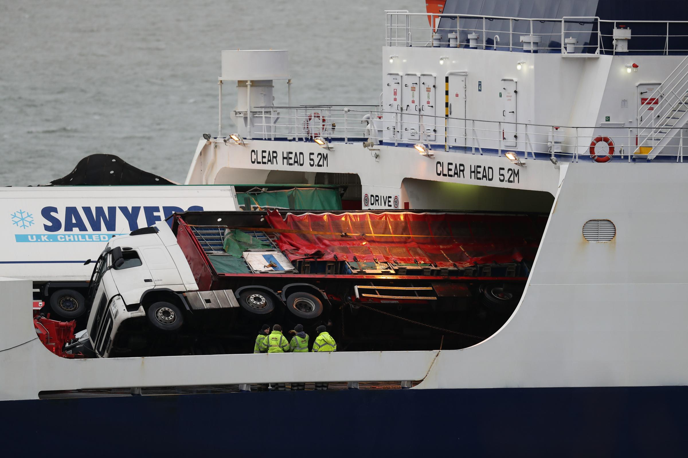 Toppled lorries on board the European Causeway ferry