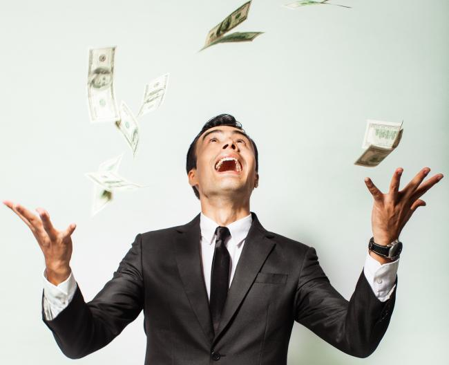 Lottery. Money in the air. Stock Image.