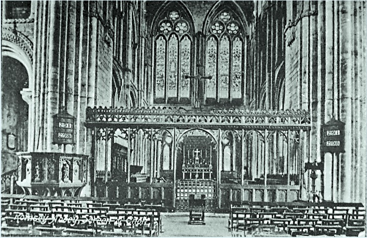 Romsey Abbey's interior in the earlier 20th century
