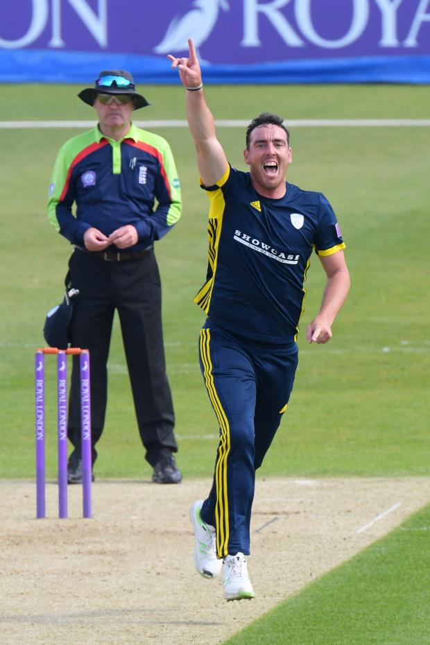 Romsey Advertiser: Kyle Abbott celebrates one of his wickets today (Photo by Neil Marshall/YASPS)