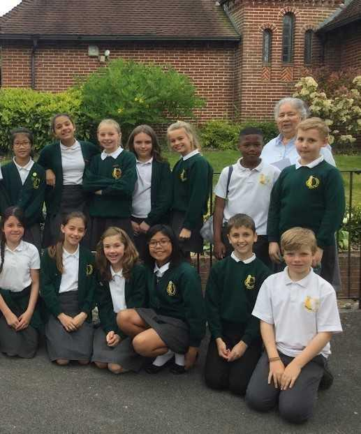 Year 6 pupils after their tour of La Sagesse Heritage exhibition
